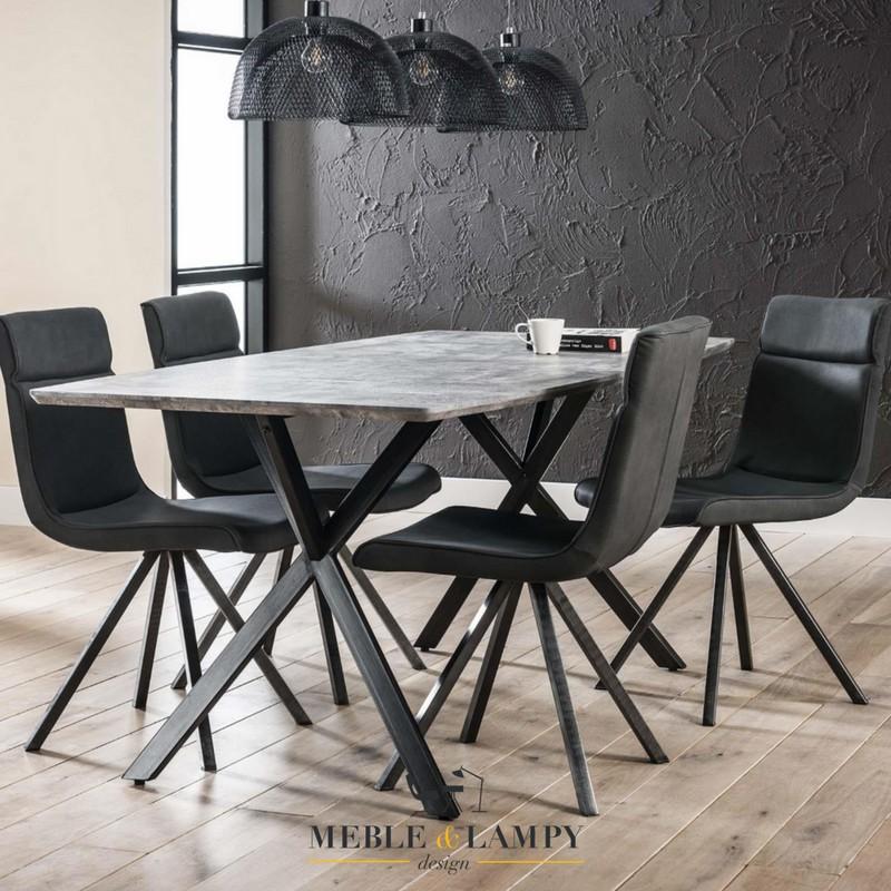 Stół 190x90cm okleina 3D betonowy/szary owalny blat