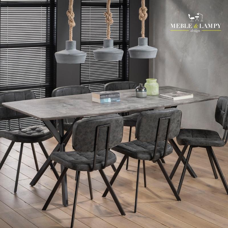 Stół 160x90cm okleina 3D betonowy/szary owalny blat