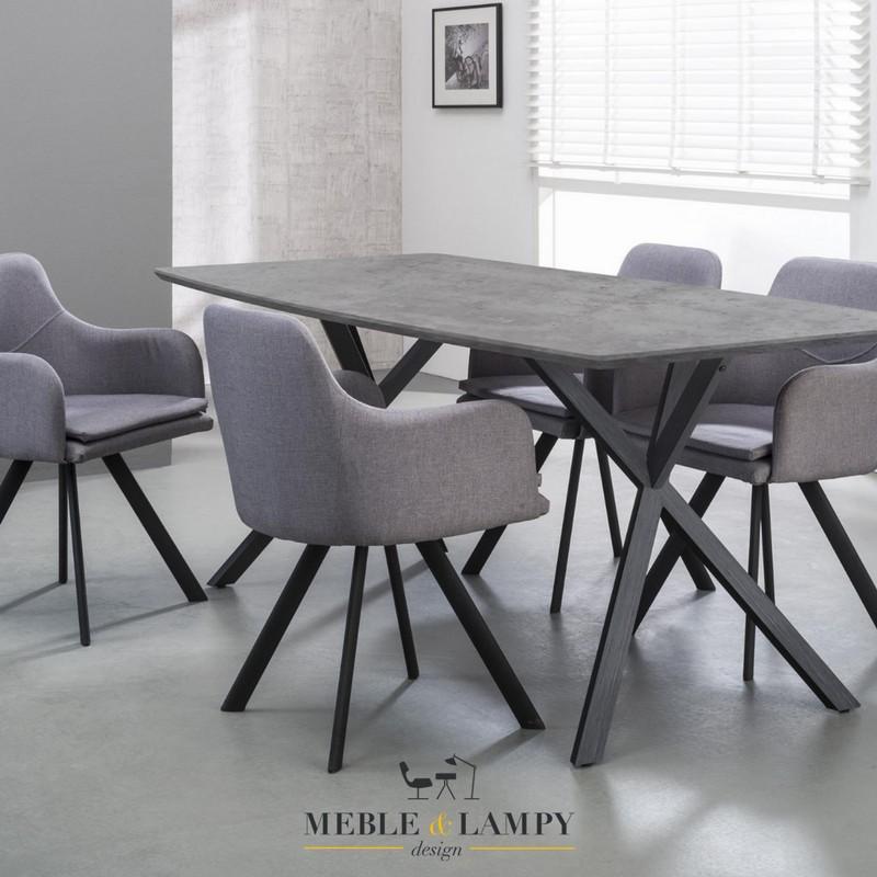 Stół 160x90cm okleina 3D betonowy owalny blat