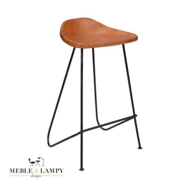 Hoker/krzesło barowe Vintage skóra brąz
