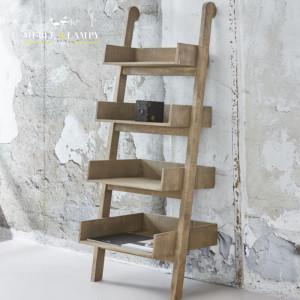 Regał LADDER z naturalnego drewna - 4 półki