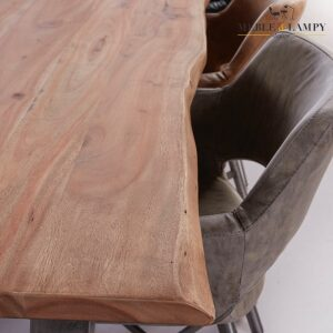 Stół 200cm 38mm drewno akacji naturalnej czarny RVS