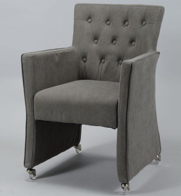 Fotel pikowany z trwałej tkaniny jeansowej