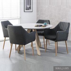 Fotel tkanina antracyt drewno