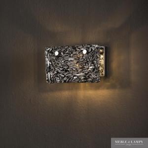 Kinkiet 1L ręcznie rzeźbione chromowane szkło