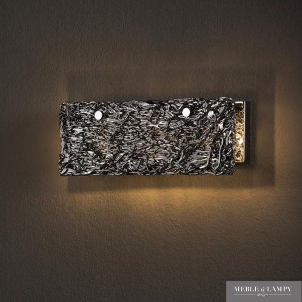Kinkiet 3L ręcznie rzeźbione chromowane szkło