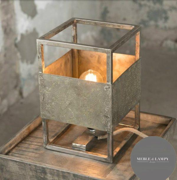 Lampa Stołowa sześcian - wyblakłe srebro