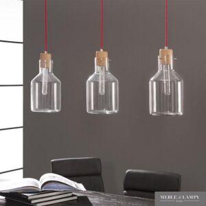 Lampa wisząca 3L szkło drewno