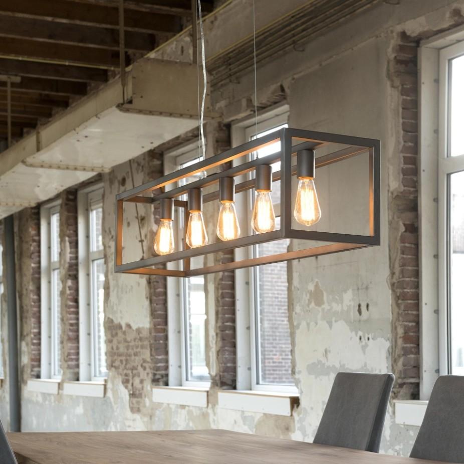 Lampa wisząca w designerskiej prostokątnej ramie