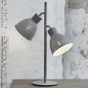 Lampa Stołowa 2L AGED IRON szara