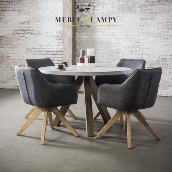 Stół okrągły o średnicy Ø120 – betonowy blat nogi z drewna