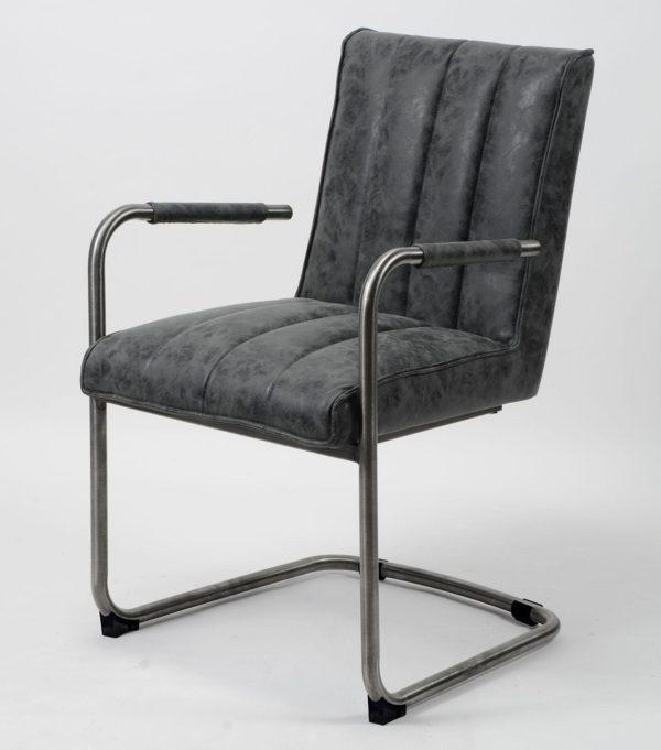 Fotel Wax na stalowej ramie z podłokietnikami Czarny