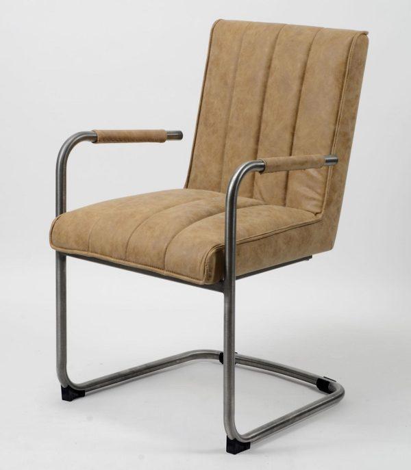 Fotel Wax na stalowej ramie z podłokietnikami Odcień brązu