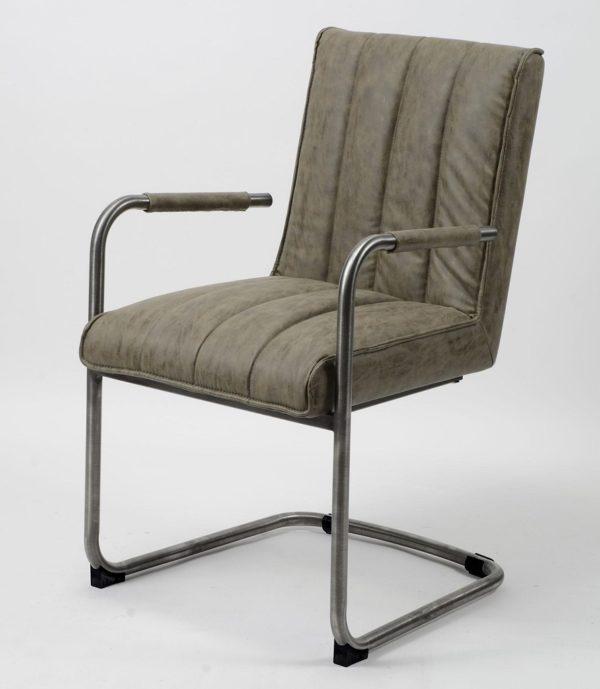 Fotel Wax na stalowej ramie z podłokietnikami Odcień szarości