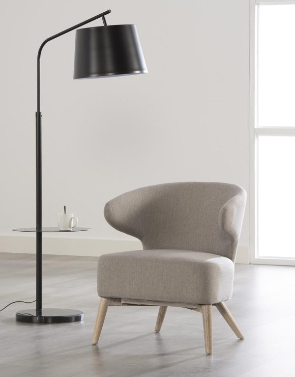 Fotel z zakrzywionym oparciem - jasny szary