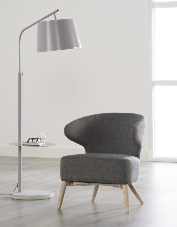 Fotel z zakrzywionym oparciem - stalowy szary
