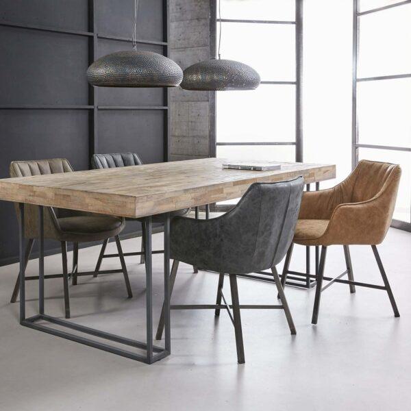 Zaawansowane Krzesło w pikowane pionowe paski na stalowych nogach ciemno szare XJ41
