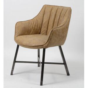 Krzesło w pikowane pionowe paski na stalowych nogach brąz