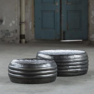 Stolik stalowy Ø63 i Ø76 zestaw 2 sztuk - czarny nikiel
