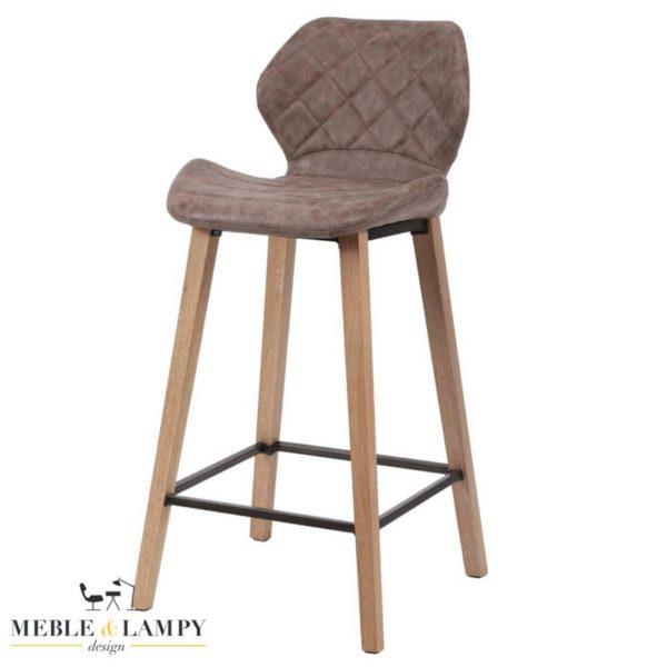 Krzesło barowe/Hoker wyprofilowane siedzisko,drewno - brązowy