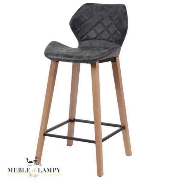 Krzesło barowe/Hoker wyprofilowane siedzisko,drewno - czarny