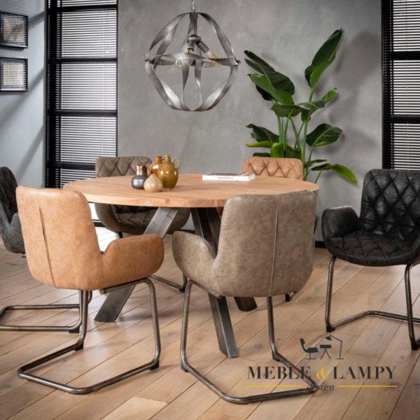 Stół okrągły Ø135 drewniany blat z akacji czarny RVS