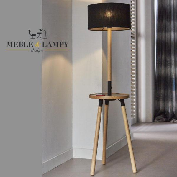 Lampa podłogowa Aparato Wood USB z ładowarką do smartfona!