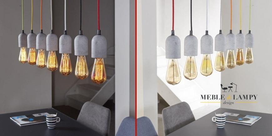 Lampa Wisząca Sette GLOBI Beton Na Kolorowych Kablach