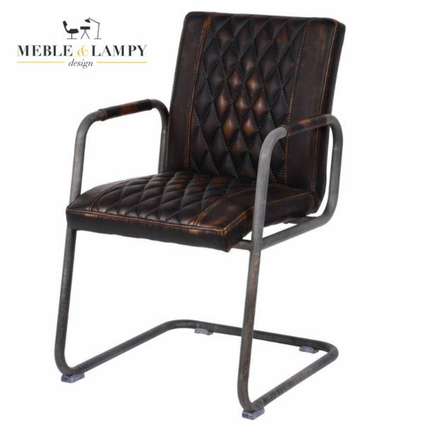 Krzesło Vintage super imitacja skóry,podłokietniki - brązowe