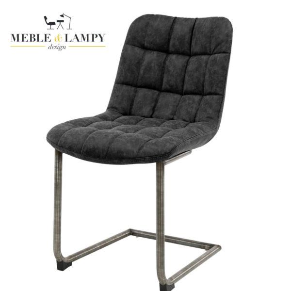 Krzesło BLOCK SWING Muca skóra - czarne