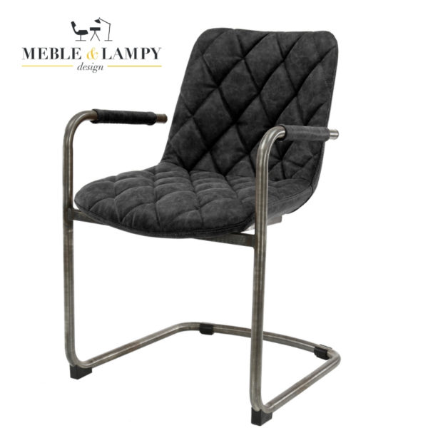 Krzesło GRID SLED Muca skóra - czarne