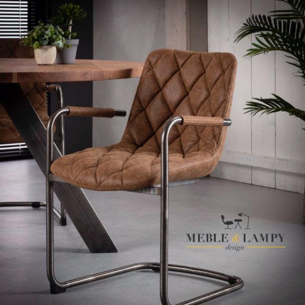 Krzesło GRID SLED Muca skóra - brązowe