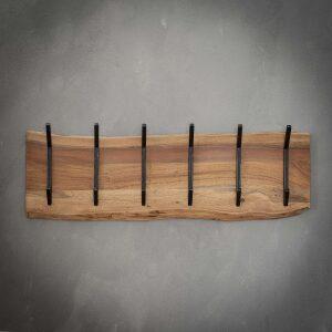 Wieszak z drewna akacjowego 2 x 6 haków