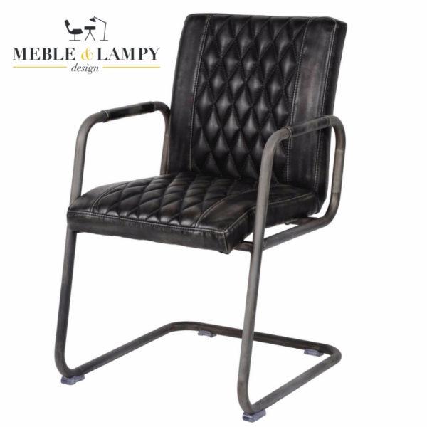 Krzesło Vintage super imitacja skóry, podłokietniki - czarne
