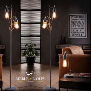 Lampa podłogowa z dwoma źródłami światła w kolorze betonu