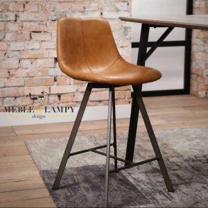 Krzesło barowe Zig-Zag nogi płaskie - brąz