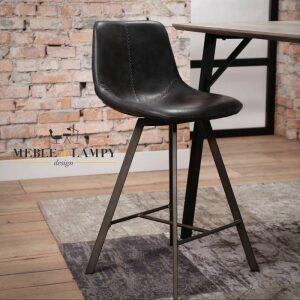 Krzesło barowe Zig-Zag nogi płaskie - czarne