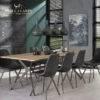 Stół 240x100cm stalowa poprzeczka dąb antyczny bielony 3D
