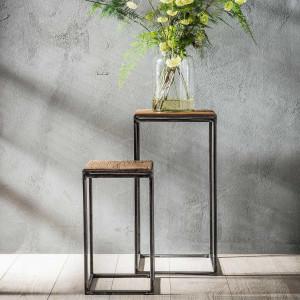 Zestaw 2 kwietników, stolików – naturalne drewno