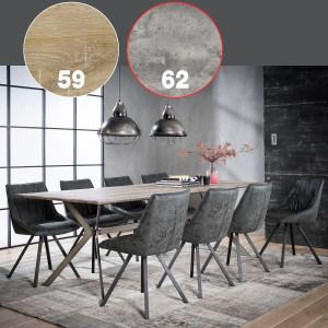 Stół 240x100cm stalowa poprzeczka szary beton 3D